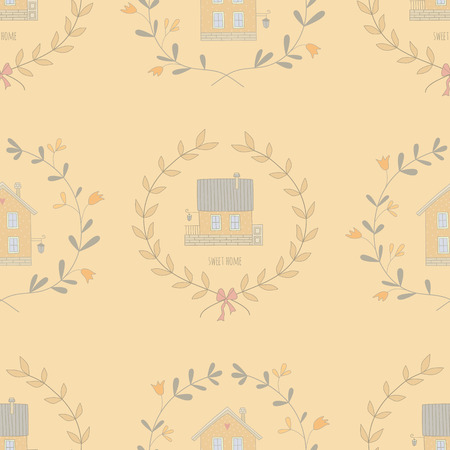 Seamless pattern with sweet little houses. No transparency. No gradients. Vector