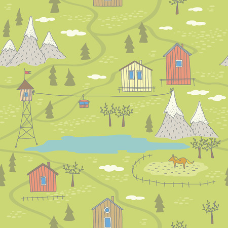 Seamless pattern with houses, mountans and lake. No transparency. No gradients. Vector