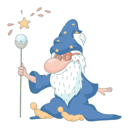 Funny wizard cartoon. EPS 10. No transparency. No gradients.  Vector