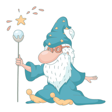 Funny wizard cartoon.  No transparency. No gradients.  Vector