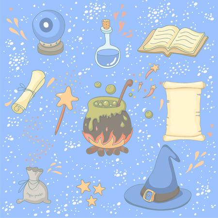 Magic set with a wizard, magic book, magic powder, magic wand, crystal ball, poison, scroll, wizard hat and a cauldron.  No transparency. No gradients. Vector