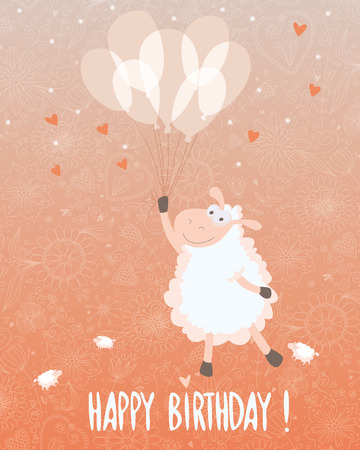 Birthday card design with a very cute sheep and balloons. EPS 10. Transparency. Gradients. Vector