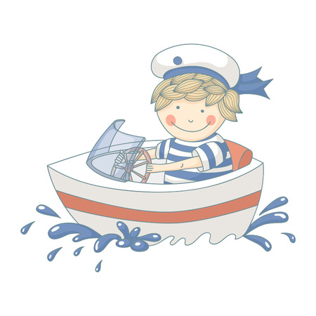 Cartoon of a little boy in a speed boat. EPS 10. Transparency. Gradients. Vector