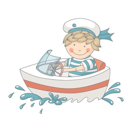 speed boat: Caricatura de un ni�o peque�o en un barco de alta velocidad. EPS 10. Transparencia. Degradados.