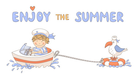 speed boat: Enjoy the summer cute cartoon with a sailor boy.  Illustration
