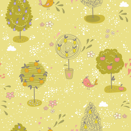 lemon tree: Seamless pattern with different kinds of fruit trees.