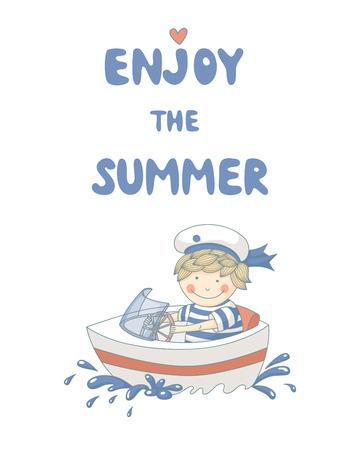 Enjoy the summer cute cartoon with a sailor boy.