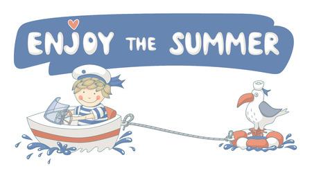 Enjoy the summer cute cartoon with a sailor boy. Vector