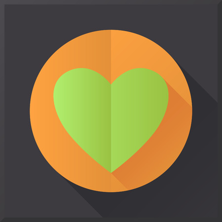 Flat design heart icon on black background.  Vector
