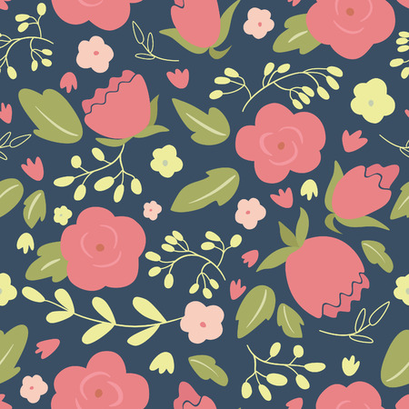 Seamless floral pattern with roses.  Vector