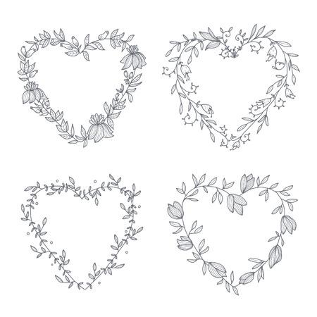 手描きの花輪のセットです。