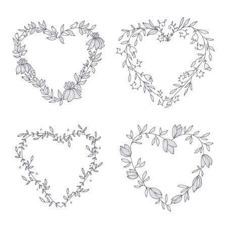 Set of hand drawn wreaths.  Vector