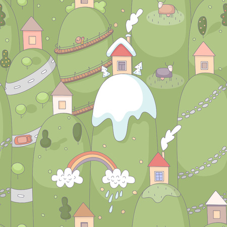 Seamless pattern with cartoon houses on hills. EPS 10. No transparency. No gradients. Vector