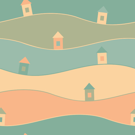 Seamless pattern with houses. EPS 10. No transparency. No gradients. Vector