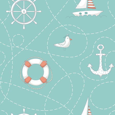 Nautical seamless pattern with an albatross, a yacht, anchor, steering wheel and life buoy. EPS 10. No transparency. No gradients.