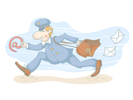 Cartoon of a running postman with the email symbol. EPS 10. No transparency. No gradients.  Vector