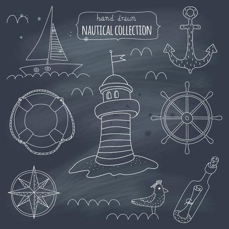 Nautical symbols on blackboard. EPS 10. Transparency. No gradients. Vector