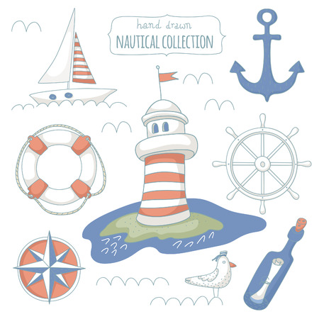 Nautical symbols on white background. EPS 10. No transparency. No gradients. Vector