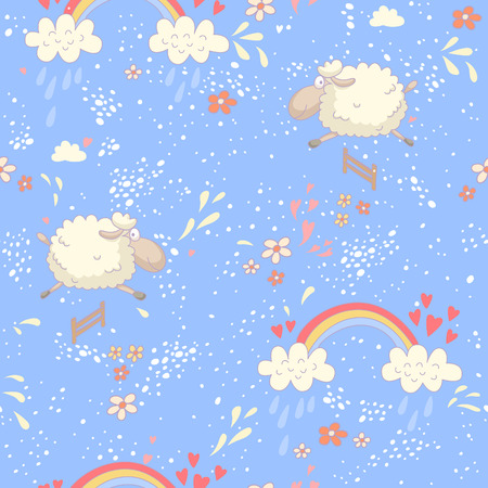 Colorful seamless pattern with a sheep and a rainbow. EPS 10. No transparency. No gradients. Vector
