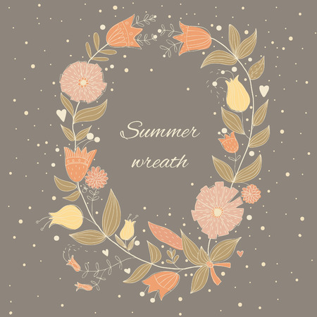 Beautiful summer wreath. EPS 10. No transparency. No gradients. Vector
