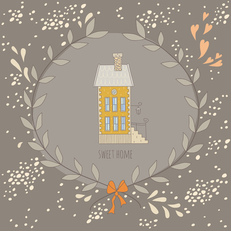 Sweet home illustration with a wreath and a very cute house. EPS 10. No gradients. No transparency. Vector