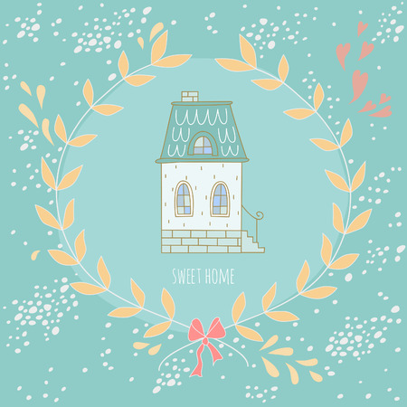 moved: Sweet home illustration with a wreath and a very cute house. EPS 10. No gradients. No transparency.