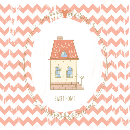 Sweet home illustration with a wreath and a very cute house. EPS 10. No gradients. Transparency. Vector