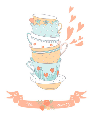 Tea party card with a stack of cute colorful cups. EPS 10. No transparency. No gradients. Illustration