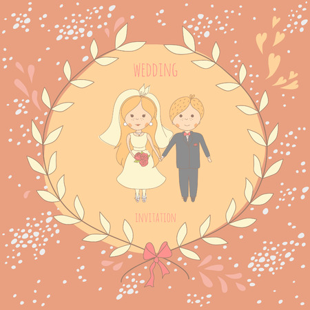 Wedding invitation with a very cute wedding couple on decorated background. EPS 10. No gradients. No transparency. Vector