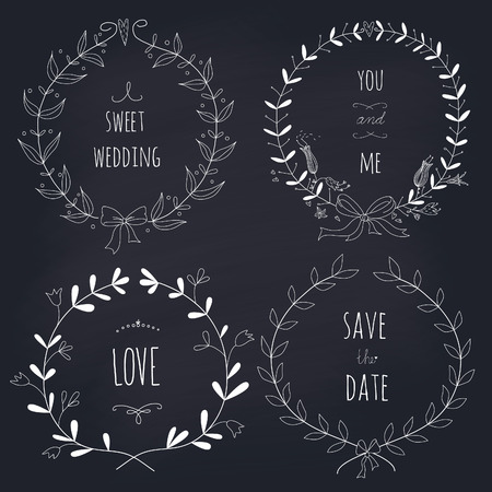 Hand drawn set of wedding wreaths on blackboard  EPS 10 No gradients  Transparency  向量圖像