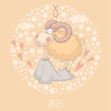 baby goat: Cartoon illustration of Aries (Ram).