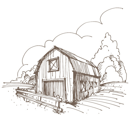 barnyard: Hand drawn illustration of a farm.