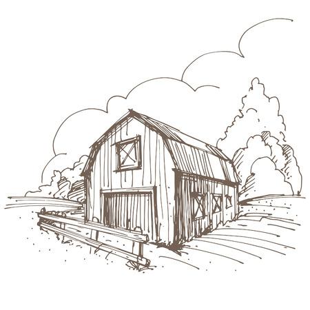 Hand getrokken illustratie van een boerderij.