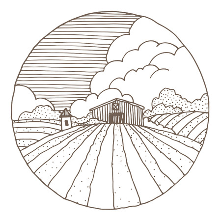 grainery: Hand drawn illustration of a farmstead and farmfields.