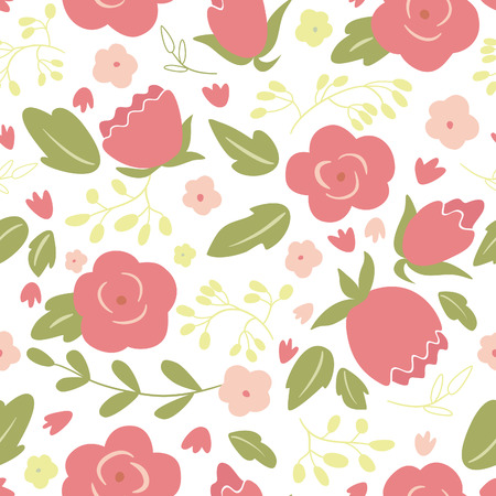 simple flower: Seamless floral pattern with roses   Illustration