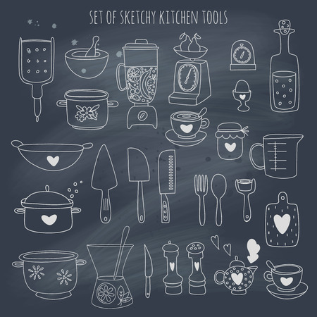 Kitchen set set on blackboard.  Vector