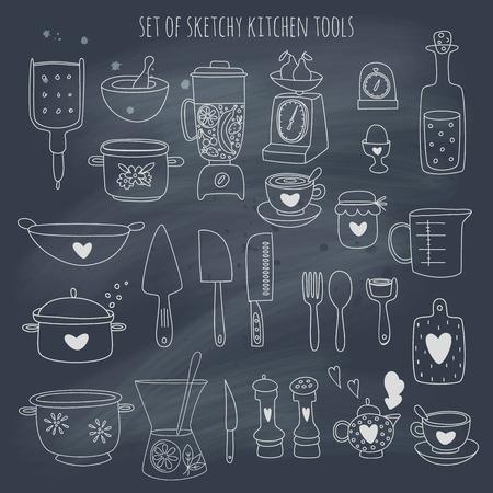 kitchen tool: Kitchen set set on blackboard.  Illustration