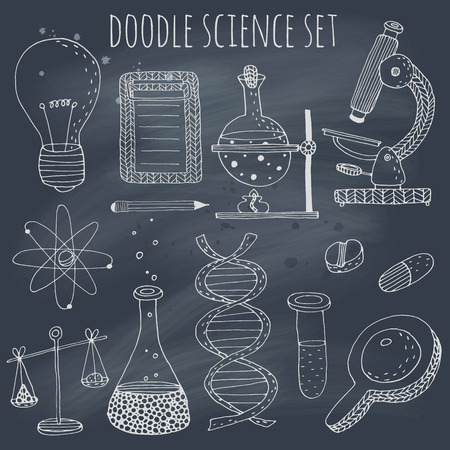 Doodle science set on blackboard.  Illustration