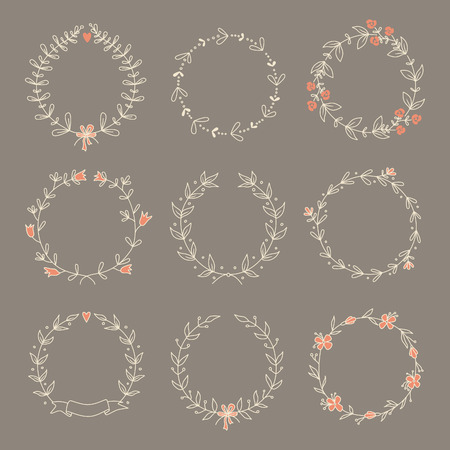 Set of 9 hand drawn wreaths  EPS 10  No transparency  No gradients  Vector