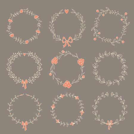 Set of 9 hand drawn wreaths