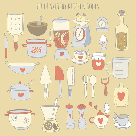 Colorful set of kitchen tools. Vector