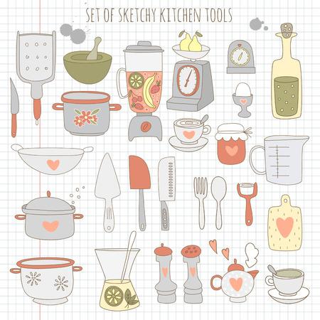 peeler: Set of kitchen tools on notebook paper.  Illustration