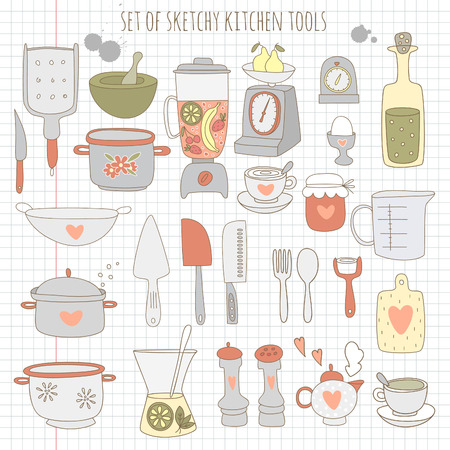 Set of kitchen tools on notebook paper.  Illustration