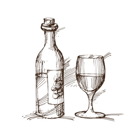 Hand drawn illustration of a bottle of wine with a glass.