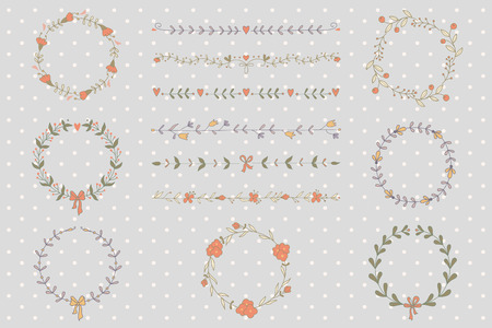 Set of hand drawn wreaths and borders.  Vector