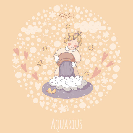 waterbearer: Cartoon illustration of the water-bearer (Aquarius).
