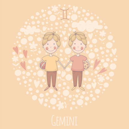 future twin: Cartoon illustration of the twins (Gemini).  Illustration