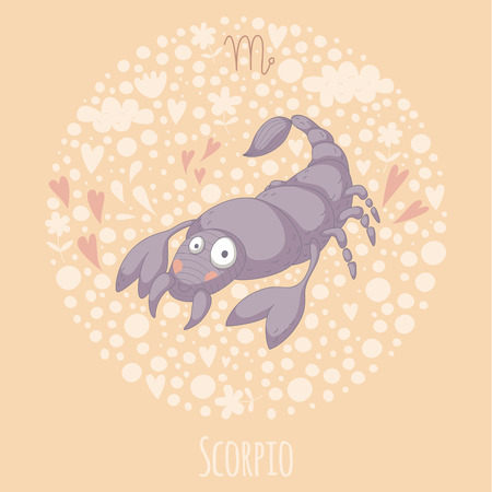 Cartoon illustration of the scorpion (Scorpio).  Vector