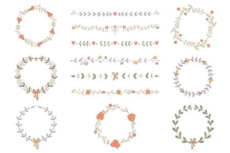 手描きの花輪と寄宿生のセット