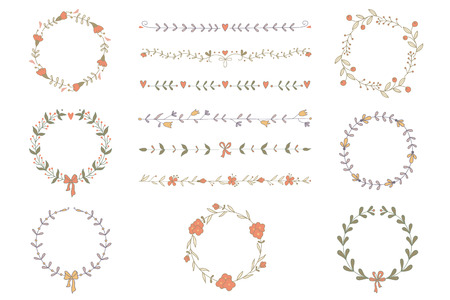 Set of hand drawn wreaths and boarders
